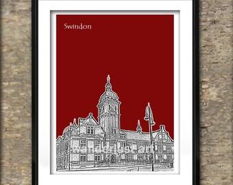 Swindon Skyline Art Print Skyline Poster A4 Size Wiltshire England