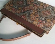 Vintage Tapestry Handbag Melbourne Floral Purse  Camel Brown Leather And Rose Floral Fabric FREE SHIPPING
