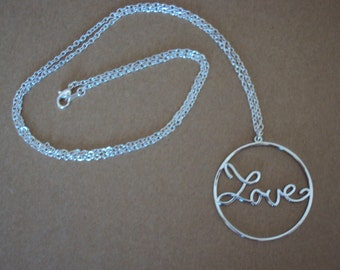 Large Circle Love Pendant Long Necklace