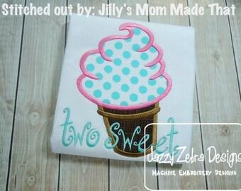 Soft Serve Ice Cream Cone Applique Design