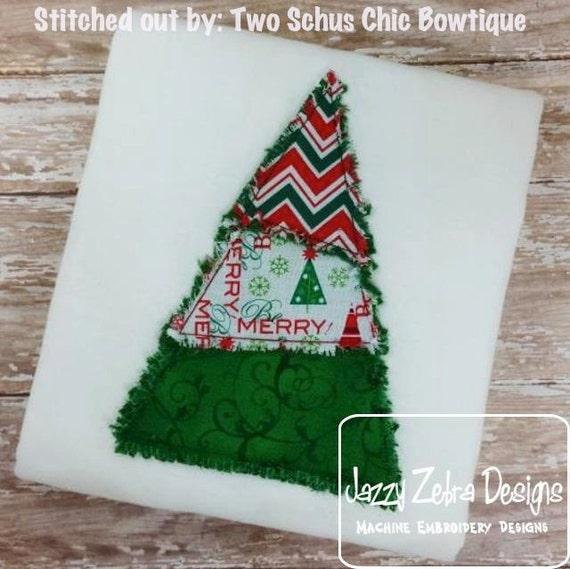 Raggedy Edge 3 color Christmas Tree Appliqué embroidery Design - Christmas Appliqué Design - Tree Appliqué Design - Christmas tree Applique