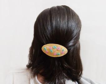 Floral french clip, Barrette mint pink, Felt hair clasp