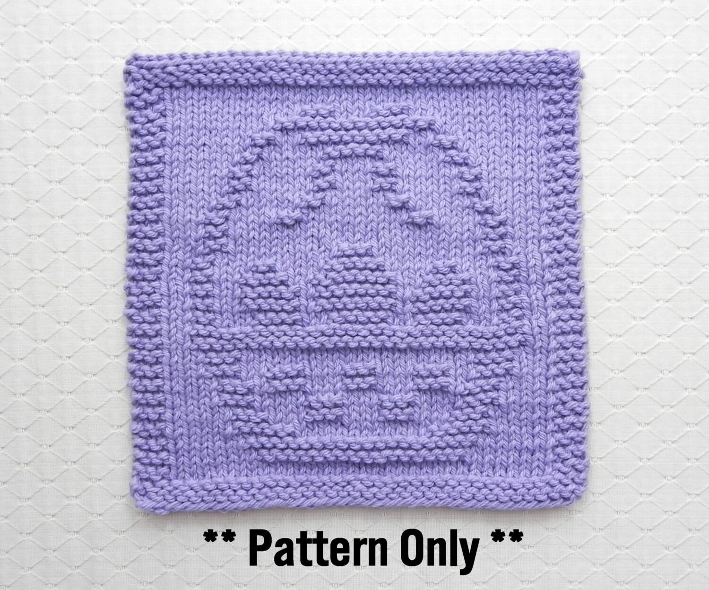 Basket Knitting Pattern : EASTER BASKET Knitting Pattern for Dishcloth or Wash Cloth