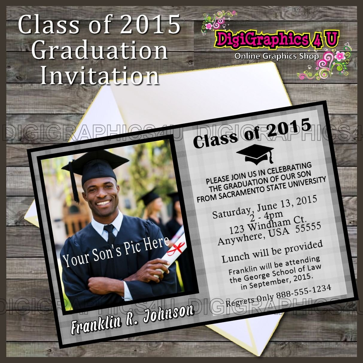 Printable Class of 2016 Graduation Party Invitation Digital File