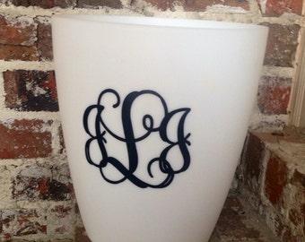 Monogrammed Waste Basket