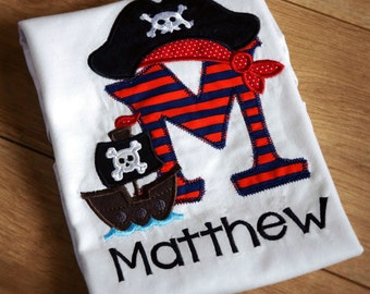 Personalised Pirate Themed Birthday Shirt ages 1-6 years