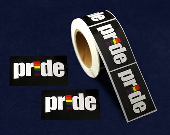 Rainbow Rectangle Pride Stickers - 250 Stickers (ST-06-RBPR)