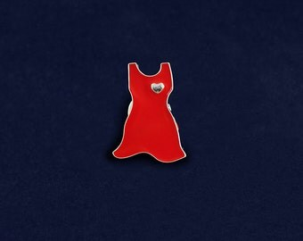 Small Red Dress Pin (RETAIL) (RE-P-03S-HRT)