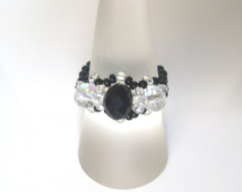 Handmade Black & Aurora Borealis Coated Clear Beaded Ring! Bead Ring, Metal Free Ring, Seed Bead Ring, Beaded Jewelry