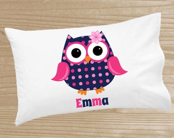 Personalized Kids' Pillowcase - Owl Pillowcase for Girls - Preppy Owl Pillow Case - Custom Owl Pillow Slip