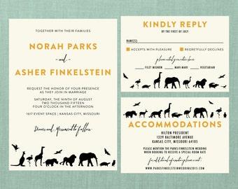Modern Zoo Wedding Suite // DIY PRINTABLE Invite + RSVP // Modern Wedding, Zoo Wedding, Animal Wedding