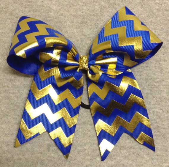 Cheerleading bows blue and gold the for Silverleaf com
