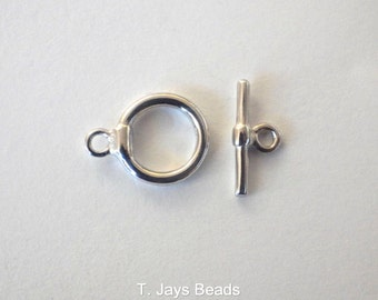 4 x Silver Colour Brass Toggle Clasp 12mm