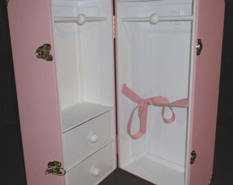 """2 Color 2-Drawer-Ribbon-2 Latches-Corners 18"""" Doll Trunk"""
