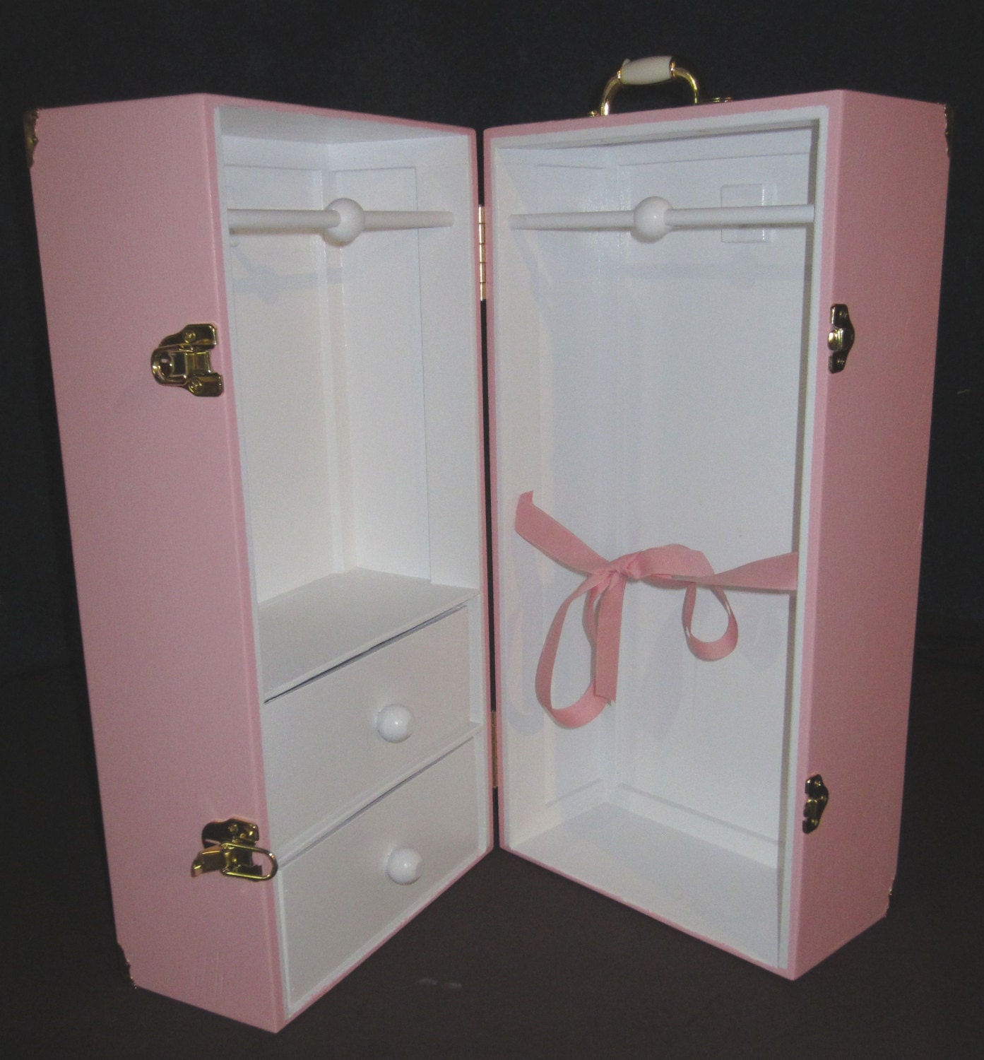 Amazing photo of Color 2 Drawer Doll Trunk 4 American Girl Doll with Ribbon Etsy with #755F48 color and 1393x1500 pixels