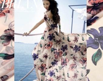 100% silk chiffon fabric printed chiffon floral silk fabric width 135cm weight 35g/m  sold by yard