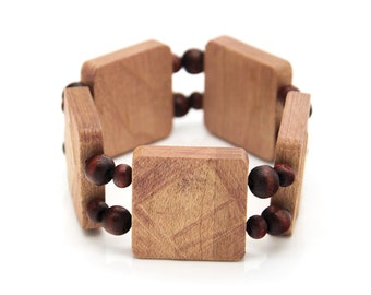 """Wooden bracelet. 2-in-1 Reversible. Reclaimed wood. Recycled. Wood Jewelry. Eco friendly. Elastic bracelet. Stretch. Size: 6 7/8"""" (17.5 cm)"""