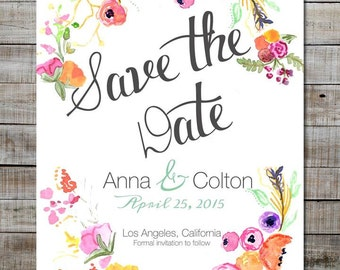 Personalized Printable Save-The-Date Wedding Invitations