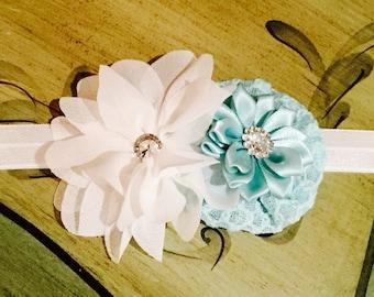 Aqua and White Chiffon Flower Headband with Rhinestones. Photo Prop, Infant, Toddler headband, Baby Headband Aqua and White.