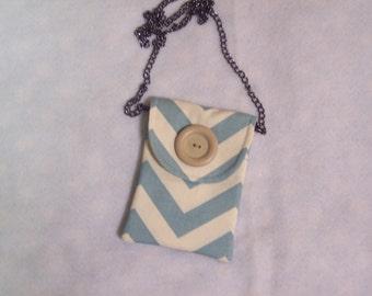 Chevron/Cream fabric cellphone bag