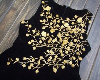 Gold Leaves lace applique vintage applique patch iron-on for decoration 34cm length