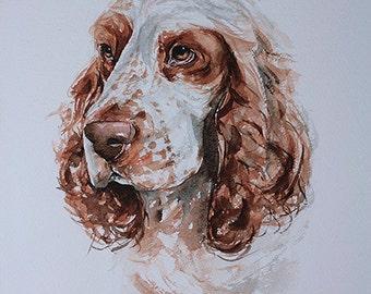 "Dog portrait, custom 11"" x 15"" original watercolor, dog painting, dog art, great gift, dog lover gift."
