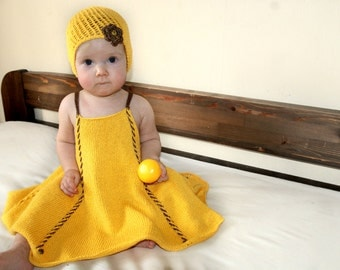 Baby girl dress and hat, yellow summer set, infant baby dress, summer hand knit dress
