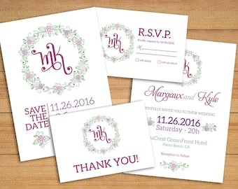 Wedding set Roses - Invitation + Save the date + RSVP card + Thank you card + Monogram
