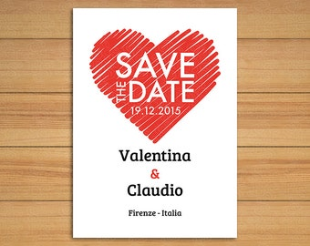 Save the date Sketched Heart - Invitation - Wedding