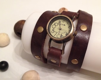Retro Leather Wrap Watch Antique Bronze Leather Bracelet Watch Wrist Leather Watch Vintage Leather Watch Dark Brown Genuine Cowhide Leather