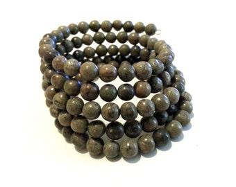 Jungle Jasper Memory Wire Bracelet; Jasper Cuff Bracelet; Green Gemstone Bracelet; Earth Tone Bracelet
