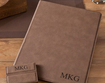 Personalized Portfolio & Business Card Case Set - Monogrammed Portfolio Set - Gifts for Him - Gifts for Dad - Executive Gifts - GC1265