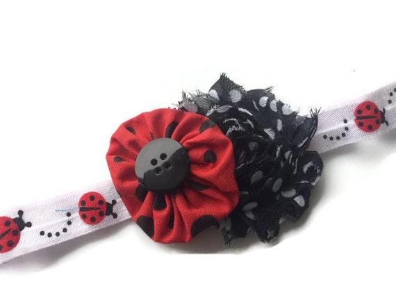 Knitting Ladybug Ladybird Headband : Red and black ladybug headband lady bug by cuteasabuttonbyamy