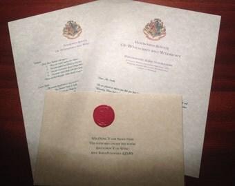 Hogwarts Acceptance Letter Harry Potter Customized