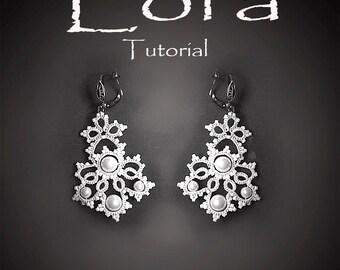 Tatting Pattern tutorial.  Lora white lace Earrings . Wedding jewelry.Victorian style.