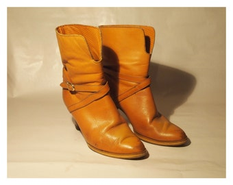 Size 7 Tan leather boots with buckle ankle strap