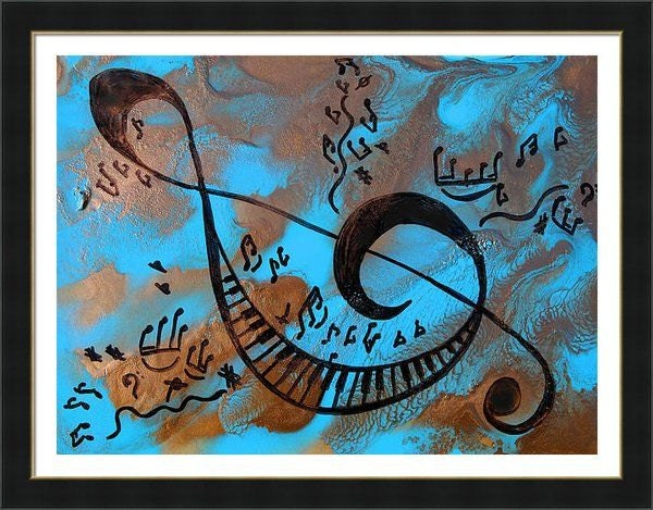 Abstract Music Notes Art: Musical Notes Art Abstract Music Painting Print By