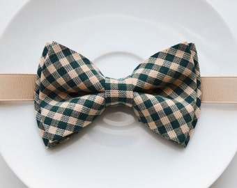 B076 Lovely  modern Green Gingham Boy's bow tie/ bowtie/ Bow