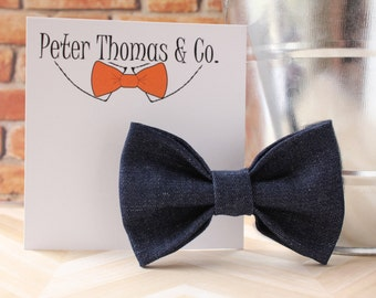 Denim Bow Tie, Dark Denim Bow Tie, Baby Bow Tie, Toddler Bow Tie, Boys Bow Tie, Clip on Bow Tie