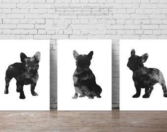 Black French Bulldog, Set of 3, Dog Silhouettes, 3 Posters, Frenchie Illustration, Three art prints Set, Men gift ideas