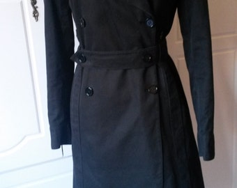 Vintage Black Cotton Trenchcoat S/M Double Breasted with Belt