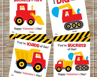 INSTANT DOWNLOAD - Printable Valentine Construction Cards