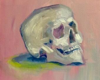 Pink Skull Study Original Oil Painting