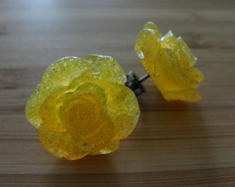 Large Yellow Glitter Flower Earrings