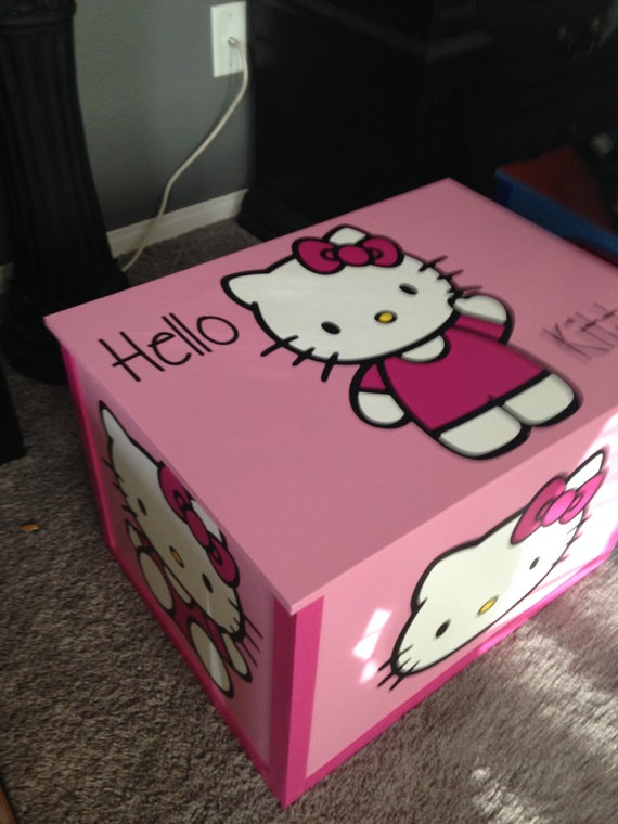Hello Kitty Toy Chest : Hello kitty wood hand painted toy box by mommyandmevegas
