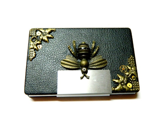 The queen bee steampunk business card case metal by for Steampunk business card holder