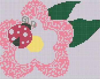 Lady Bug Flower Cross Stitch Pattern