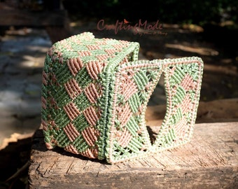 Macrame,Box,Tissue box cover ,Handmade,Basket,Natural,Dirty Pink and Jade colors ,Storage,Decorative,Gift,living room,Kitchen,Dinning room