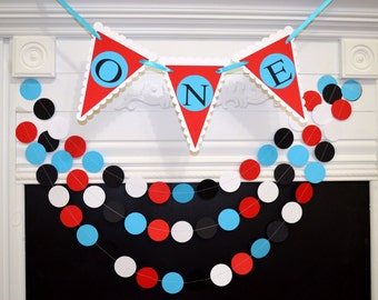 I am one Birthday banner and garland set, first birthday party banner, baby boy 1st birthday banner, red turquoise black white boy birthday