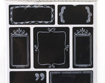 4 sheets Chalkboard Label 7 assorted stickers with borders total 28 stickers . Great for primitive packing, decorations, crafts. (CBL9172)
